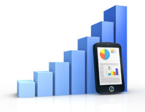 one growing bar chart and a portable device with financial data (3d render)